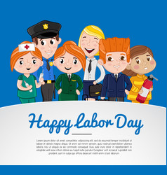 Happy labor day greeting card with children vector