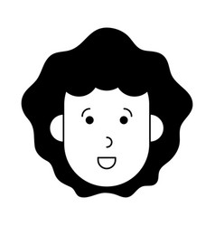 Happy woman with big curly hair cartoon icon imag vector