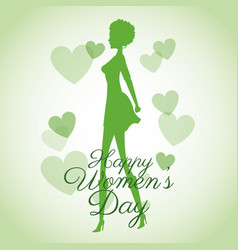 Happy womens day card-silhouette girl green hearts vector