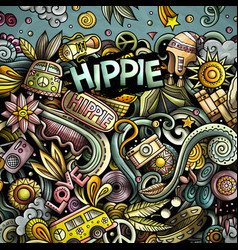 Hippie hand drawn doodles vector