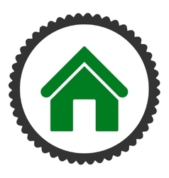 Home flat green and gray colors round stamp icon vector