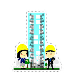 kids height chart with high tower and engineer vector image
