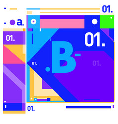 Letter b memphis style geometrical color outline vector
