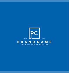 Letter pc logo design vector