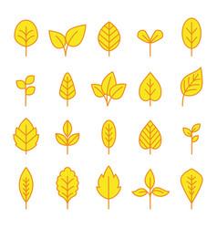line leaf icons set vector image