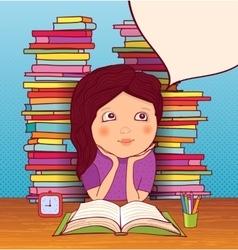 Little girl doing homework vector