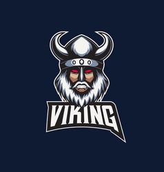 mascot esport logo viking vector image