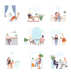 men and women have a rest and work in cafe vector image