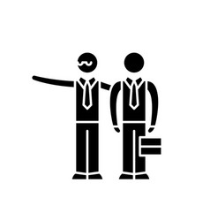 Mentoring black icon sign on isolated vector