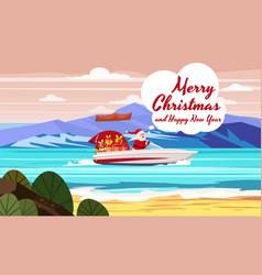 Merry christmas santa claus on speed boat on ocean vector