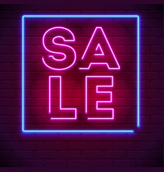 neon sale sign on dark wall background modern vector image
