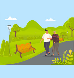 old man leans on stick and walks with woman vector image