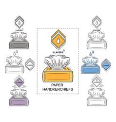 Paper disposable handkerchiefs tissues box icon vector