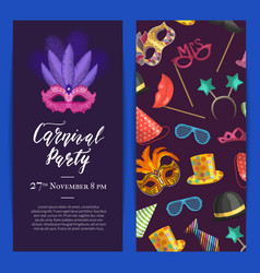Party invitation with masks and party vector