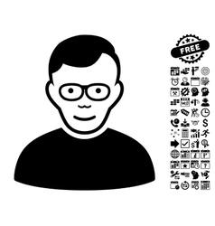 Pensioner Flat Icon With Bonus vector