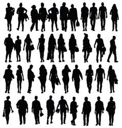 people walking silhouette black vector image