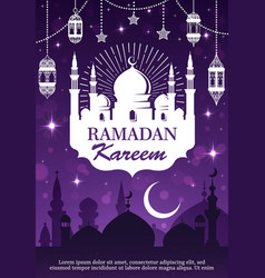 Ramadan kareem muslim mosque lantern and moon vector