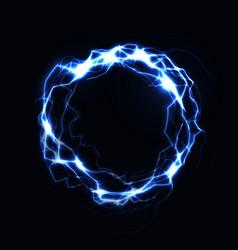 Realistic lightning ring energy ball magic vector