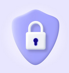 Security shield logo 3d icon protection safety vector