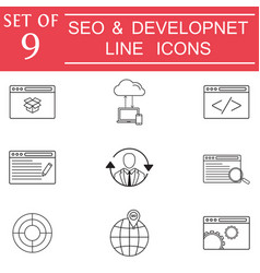 Seo and development icon set business signs vector