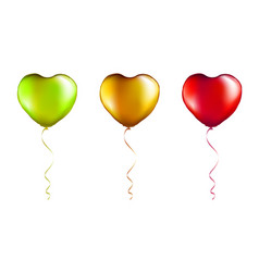 set colorful foil heart shaped balloons vector image