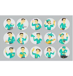 set different character avatars in circles vector image