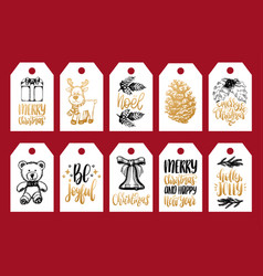 set of tags with hand written christmas phrases vector image