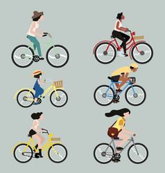 Set people riding a bicycle vector