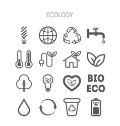 set simple monochromatic ecology icons vector image