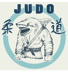 Shark practicing judo vector image