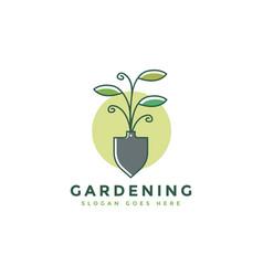 shovel and plant logo gardening farming logo vector image