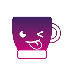 Silhouette funny coffee cup kawaii cartoon vector