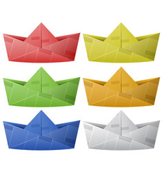 six paper boats in different colors vector image