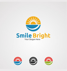 smile bright with circle sun logo icon element vector image