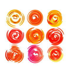 sun icon set twisting round shape red hot vector image