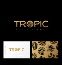 tropic gold logo resort spa emblem leaves vector image