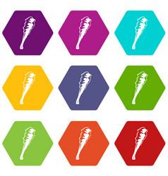 Truncheon icons set 9 vector