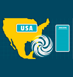 Usa map tornado background flat style vector