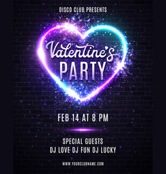 valentine day party poster flyer neon style design vector image