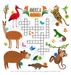 Wild animals crossword puzzle vector