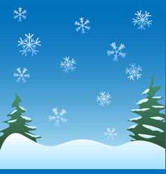 Winter scene background snowflakes trees vector