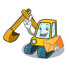 With envelope excavator character cartoon style vector