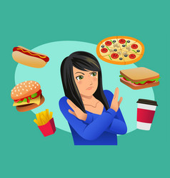 Woman refusing fast food temptation vector
