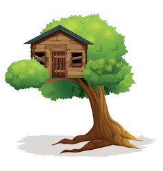 wooden treehouse on the tree vector image