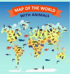 World map animal concept background cartoon style vector