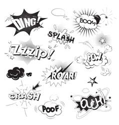 Comic black speech bubbles in pop art style vector image