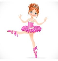 Graceful brunette ballerina girl dancing in pink vector image