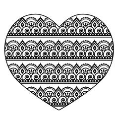 Mehndi Indian Henna tattoo heart seamless pattern vector image vector image