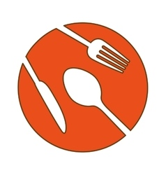 Orange plate with cutlery icon image vector