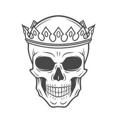 Skull King Crown design element Vintage Royal t vector image